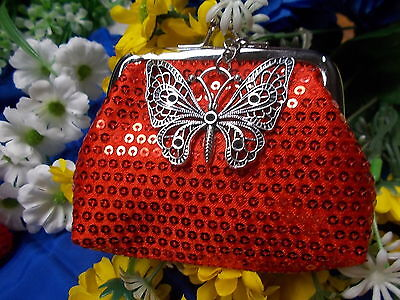 * Stylish Red Sequin Coin Purse - With A Large Silver Butterfly Charm New # 45