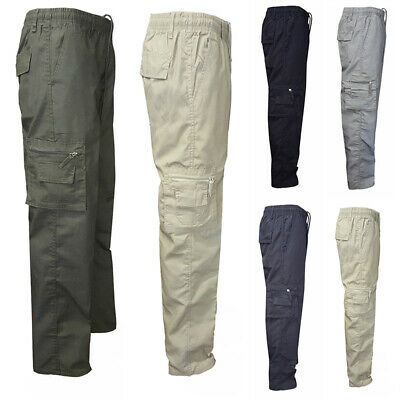 Mens Army Trousers Pocket Pants Combat Military Cargo Waist Work Casual Camo