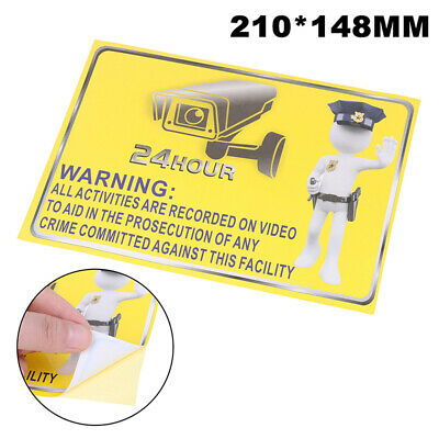 2PCS Alarm Surveillance Security Camera Video CCTV PVC Sticker Warning Signs~GN
