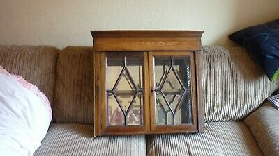 Small wooden antique bevelled glass fronted display cabinet mirror backed