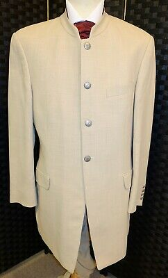 Mens Dark Ivory Luxury Designer Nehru Edward Jacket Suit Wedding Prom Races