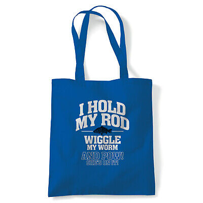 I Hold My Rod Mens Funny Fishing Angling Tote - Reusable Shopping Canvas Bag