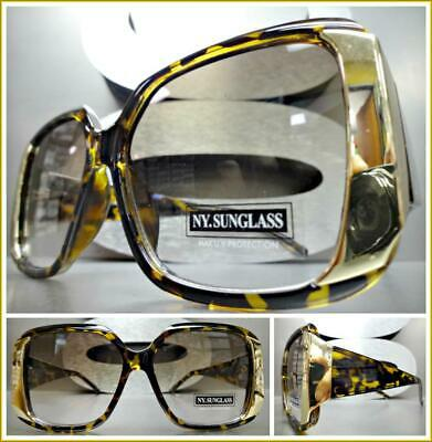 OVERSIZE EXAGGERATED VINTAGE RETRO Style SUNGLASSES Square Tortoise & Gold Frame
