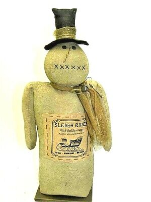 New Primitive Folk Art Tea Stained Grungy SNOWMAN TOP HAT Doll Sleigh Rides Tag