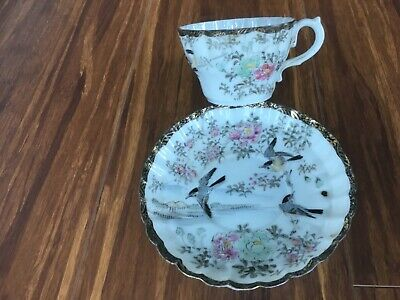 Antique Asian old vintage egg-shell Japanese tea set (cup+saucer),hand-painted