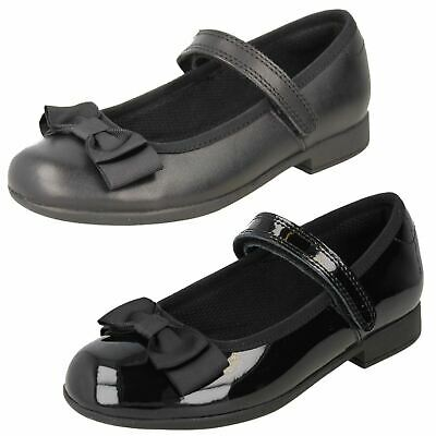 Girls Clarks Formal Hook & Loop Patent & Leather School Shoes Scala Tap