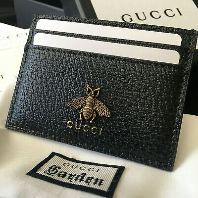 AUTHENTIC GUCCI GG Card Holder Black Bee Leather Men Wallet