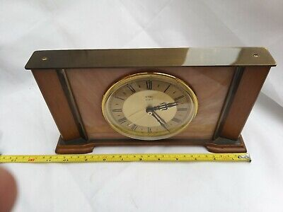 Metamec quartz Mantle Clock Marble and light wood frame, fully working