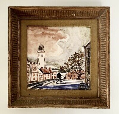 Hand Painted Vintage Antique Ceramic Tile SOUTHWOLD LIGHTHOUSE Framed