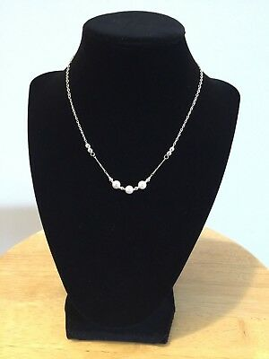 Charming Beautiful Silver Chain Necklace with Ivory Glass Pearls Women Fashion