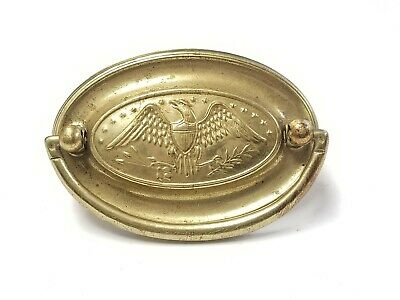 Single Vintage Brass Drawer Pull Hardware Eagle Patriotic Americana Oval 1