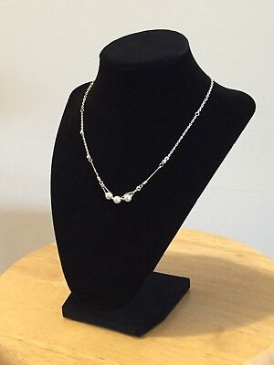 Delicate Beautiful Silver Chain Necklace with Ivory Glass Pearls Women Fashion