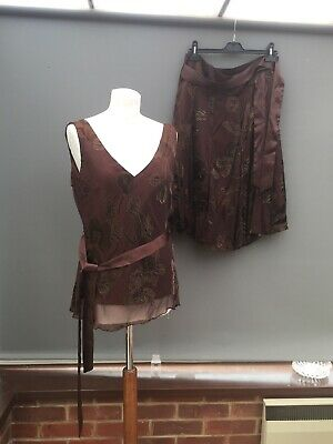 Prima Womens Two Piece Silk blend Cocktail Evening Skirt & Top Size 16 Brown