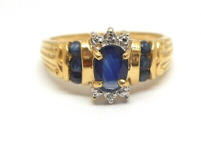10K Yellow Gold Genuine Oval Sapphire And Diamond Ring