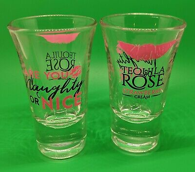 Tequila Rose Strawberry Cream Are You Naughty Or Nice Shot Glass Glasses Pair 2