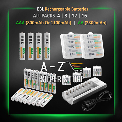EBL Rechargeable Batteries AA AAA 800mAh 1100mAh 2300 mAh lot Charger Ni-MH Pack
