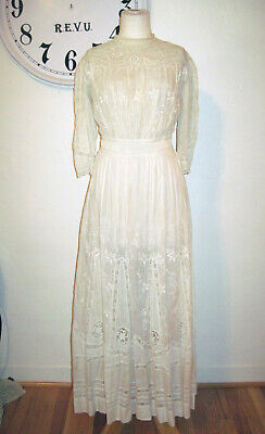 Ladies Antique Victorian White/Cream Cotton Batiste Dress Long Sleeve Lace Full