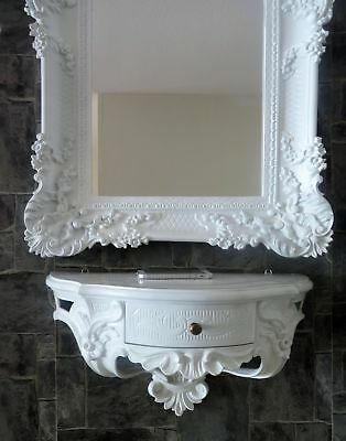 Baroque Wall Mirror White with Console Drawer 50x27 Antique Bathroom 96x57