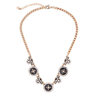 Kate spade inspired ANTIQUE STYLE ROUND BLACK CRYSTAL STATEMENT  NECKLACE