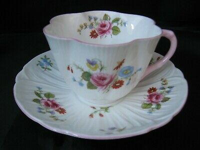 Vintage Shelley Fine Bone China Cup & Saucer, Dainty Shape Rose Pansy Floral