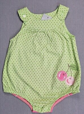 New First Impressions 0-3 Month Baby Girl Green Polka Dot Cherries Romper