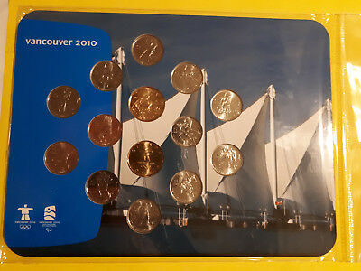 2010 Vancouver Olympic Coins on Board - RCM uncirculated set