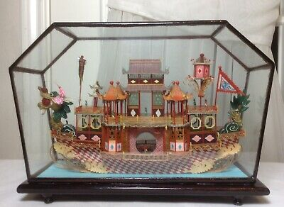 Rare Superb Chinese Hand Carved Dragon Boat Landscape In Display Glass Wood Case