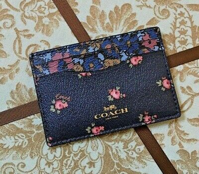 Nwt Coach Card Case With  Floral Print Midnight F58717