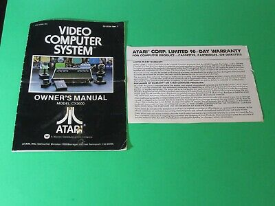 Atari 2600 CX2600 Video Computer System Owner's Manual w/ Warranty Card