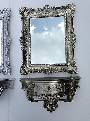 Wall Mirror with Console with Drawer Antique Silver Tray 56X46 Baroque