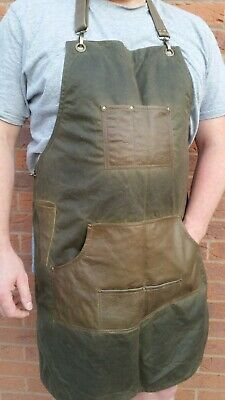 Barber waxed canvas apron with adjustable neck and waist straps