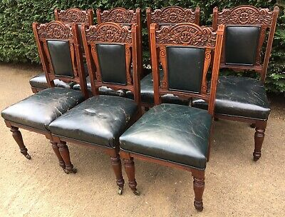 7 antique victorian Edwardian Mahogany Carved Greenman Leather Dining Chairs