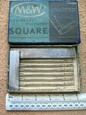 VINTAGE MOORE & WRIGHT 4 INCH  SQUARE IN ORIGINAL BOX  USED No 400/4 YA