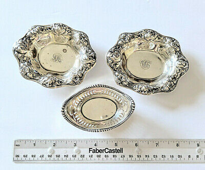 3 Vintage Gorham Solid Sterling Silver Nut Candy Dishes 1- A4775, 2- A3965