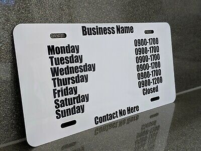 Personalised Business Shop Opening Hours Sign 30 x 15cm Alloy plaque