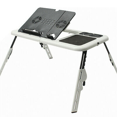 Folding Laptop Notebook Table Stand Tray Desk Holder With 2 USB Cooling Fans For