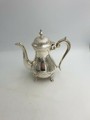 Antique Silver Plated Footed Coffee Pot Ornate Chased Engraved Floral Hinged Lid