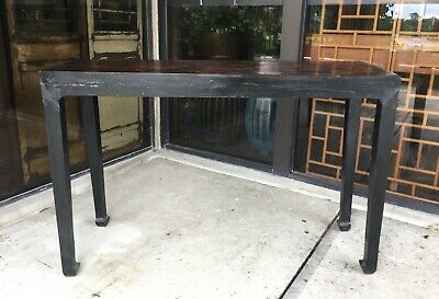 Distressed Black Vintage Chinese Ming Style Altar Table Console Table