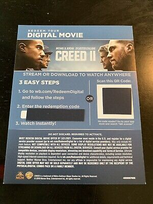 Creed II / Creed 2 (2018) - 4K/UHD Digital Movie Redemption Card-stock Insert