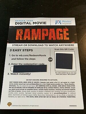 Rampage (2018) - 4K/UHD Digital Movie Redemption Card-stock Insert