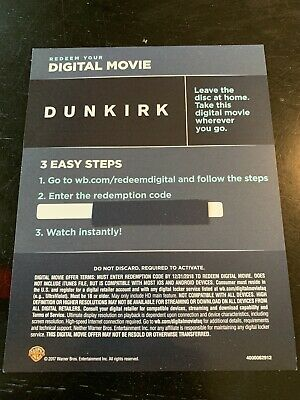 Dunkirk (2017) - 4K/UHD Digital Movie Redemption Card-stock Insert