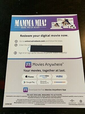 Mamma Mia! Here We Go Again - 4K/UHD Digital Movie Redemption Card-stock Insert