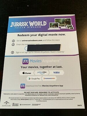 Fallen Kingdom (2018) - 4K/UHD Digital Movie Redemption Card-stock Insert