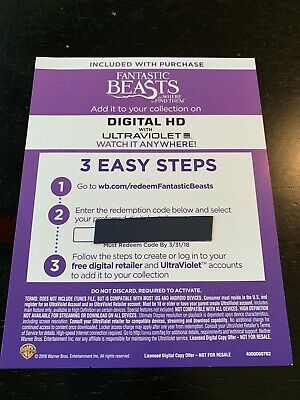 Fantastic Beasts (2016) - 4K/UHD Digital Movie Redemption Card-stock Insert