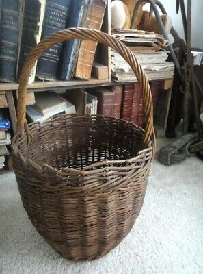 1800s antique WICKER BASKET early handmade excellent FRENCH COUNTRY PRIM