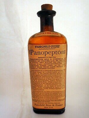 antique PANOPEPTON quack medicine BOTTLE w CONTENTS fairchild foster DIGESTIVE