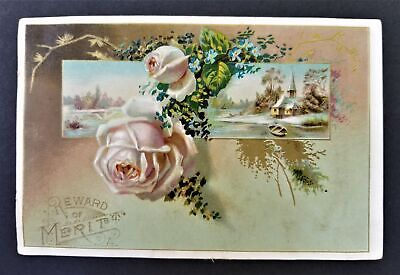 1892 antique VICTORIAN TRADE CARD baughman pa MERIT CARD student names