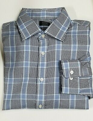 Joe Joseph Abboud Mens Shirt XL Blue Plaid Long Sleeve EZ Care 16.5 - 34/35