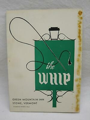 1950s The Whip Green Mountain Inn Stowe Vt Vermont Old Vtg Cocktail Recipe Book