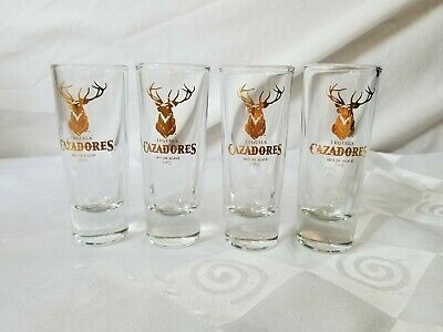 Tequila Cazadores 100% de Agave Gold Stag Crisa Double Tall Set 4 Shot Glasses